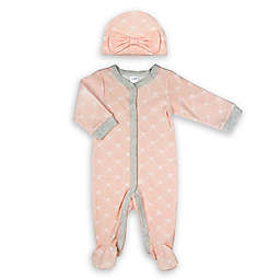 Modern Baby Size 6M 2-Piece Hat and Footed Coverall Set in Shell