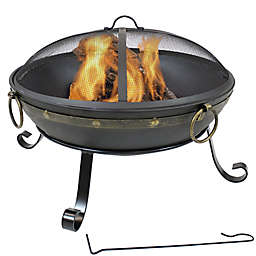 Sunnydaze 25-Inch Victorian Steel Fire Bowl with Screen in Black