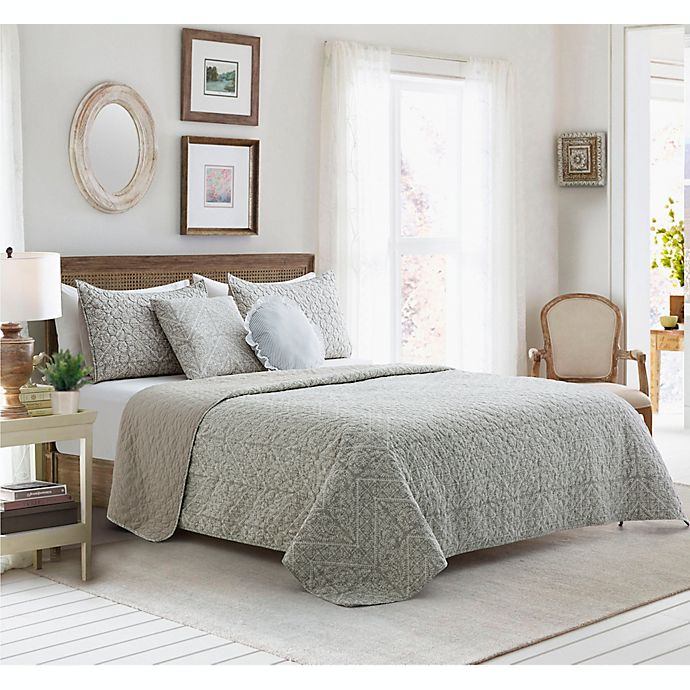 Alternate image 1 for Eleanor 5-Piece Reversible King Quilt Set in Taupe