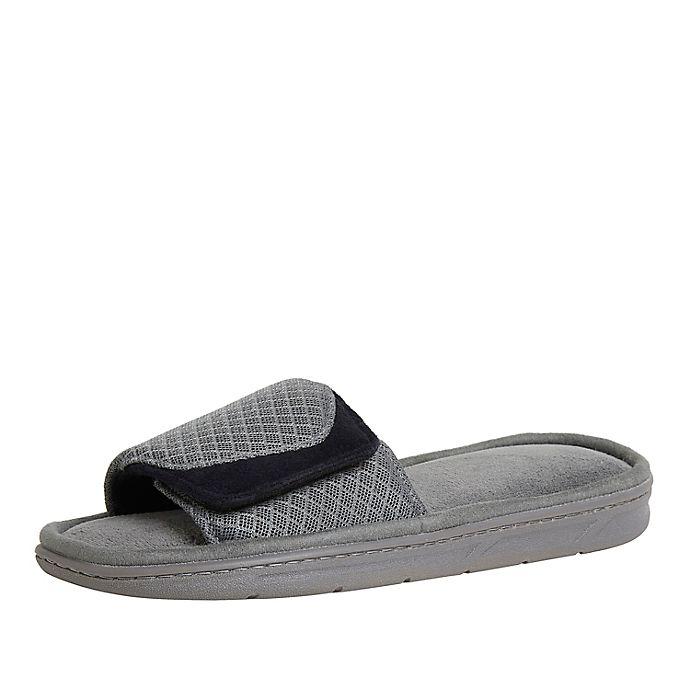 Alternate image 1 for Cozy Mountain™ XXL Men's Sport Mesh Adjustable Slide Slippers in Medium Grey