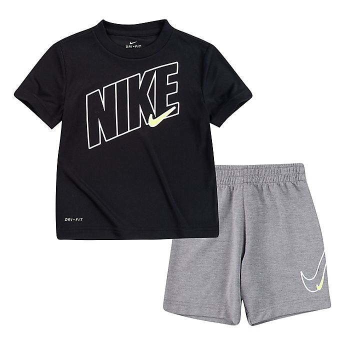 Alternate image 1 for Nike® Comfort Dri Fit Awesome Shirt and Shorts Set in Black/Violet