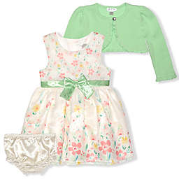 Nannette Baby® 3-Piece Floral Cardigan, Dress, and Diaper Cover Set in Cream/Sage