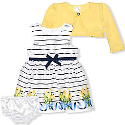 Nannette Baby® Tulip Dress, Cardigan, and Diaper Cover Set in Yellow