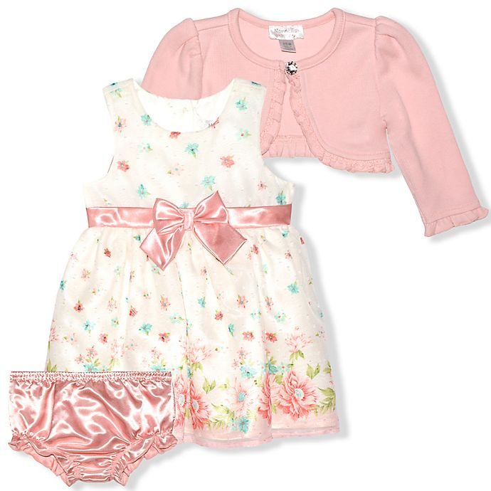 Alternate image 1 for Nannette Baby® 3-Piece Floral Cardigan, Dress, and Diaper Cover Set in Cream/Peach