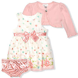 Nannette Baby® 3-Piece Floral Cardigan, Dress, and Diaper Cover Set in Cream/Peach
