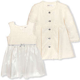 Nannette Baby 2-Piece Glitter Dress and Coat Set