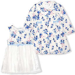 Nannette Baby® 2-Piece Swing Coat and Dress Set in White/Lilac