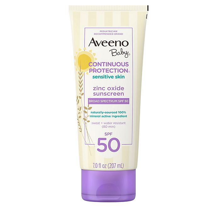 Alternate image 1 for Aveeno Baby® Continuous Protection® 3 fl. oz Sensitive Suncare Lotion SPF 50 (Set of 2)