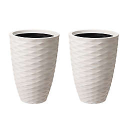 Glitzhome® Tall Round Planter Pots in White (Set of 2)