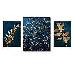 Courtside Market® Blue & Gold 24-Inch x 32-Inch Canvas Wall Art (Set of 3)
