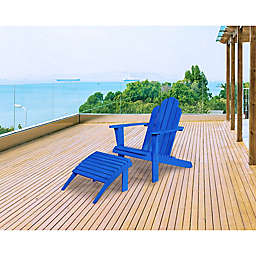 Preston Acacia Wood Adirondack Chair in Blue