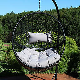 Sunnydaze Jackson Hanging Egg Chair with Cushions in Grey