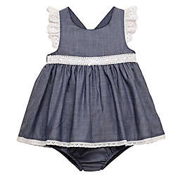 Baby Starters® Size 6M 2-Piece Dress with Eyelet Lace and Diaper Cover Set in Blue