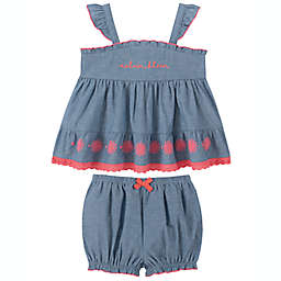 Calvin Klein® 2-Piece Chambray Top and Bloomer Set in Blue