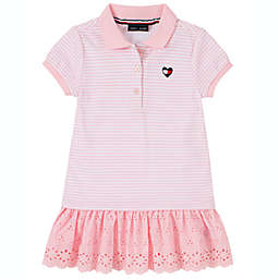 Tommy Hilfiger® 2-Piece Eyelet Short Sleeve Dress and Diaper Cover Set in Pink