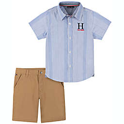 Tommy Hilfiger® Size 3-6M 2-Piece Short Sleeve Top and Shortall Set in Blue