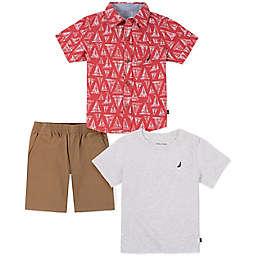 Nautica® Size 12M 3-Piece Sailboat Button Down Shirt, T-Shirt, and Short Set in Khaki