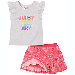 Juicy Couture® Size 6-9M Tie-Dye 2-Piece Short Set in Pink