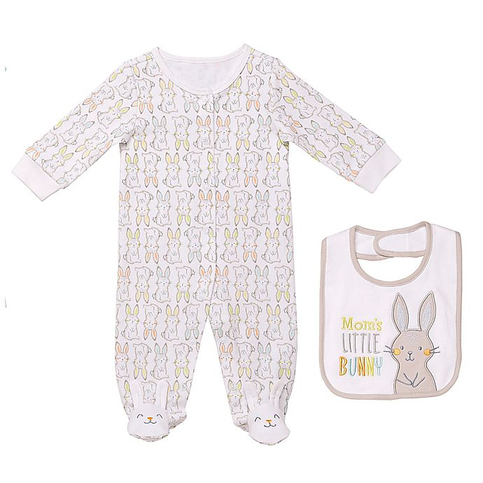 Alternate image 1 for Baby Starters® 2-Piece Easter Footie and Bib Set in Grey