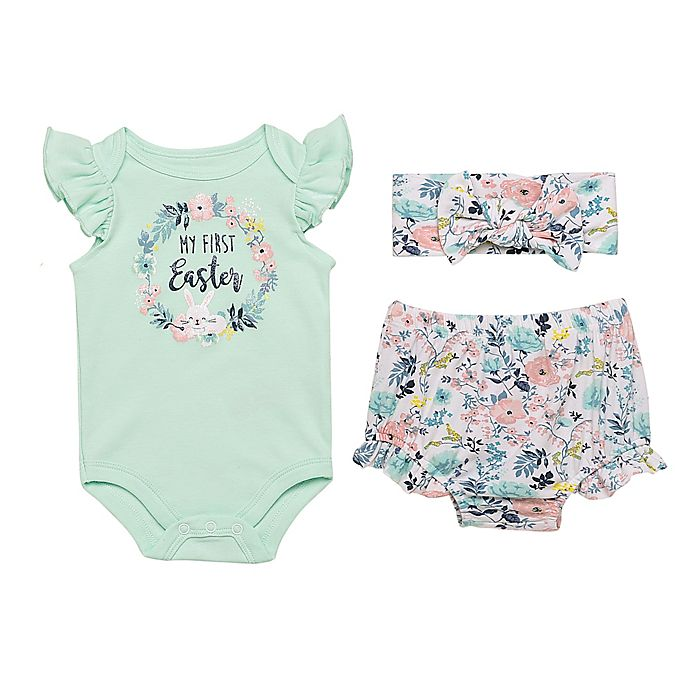 Alternate image 1 for Baby Starters® Size 6M 3-Piece Happy Easter Bodysuit, Diaper Pant and Headband Set
