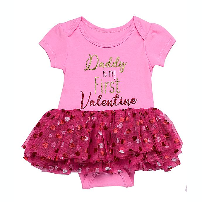 Alternate image 1 for Baby Starters® Daddy Valentine Tutu Bodysuit in Pink