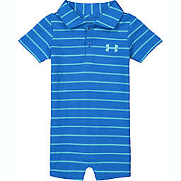 Under Armour® Size 0-3M Striped Polo Short Sleeve Shortall in Blue