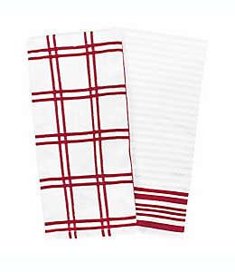Toallas de cocina de algodón Our Table™ a cuadros color rojo, Set de 2