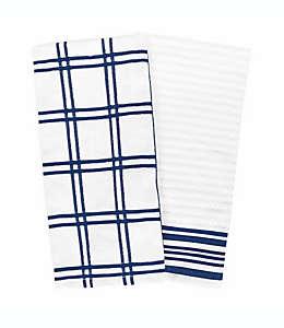 Toallas de cocina de algodón Our Table™ a cuadros color azul, Set de 2