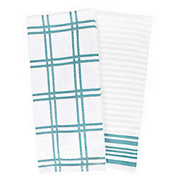 Our Table™ Everyday Plaid and Stripe Kitchen Towels in Teal (Set of 2)