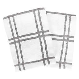 Our Table™ Everyday Plaid Dish Cloths in Grey (Set of 2)