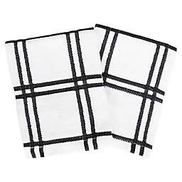 Our Table™ Everyday Plaid Dish Cloths in Black (Set of 2)