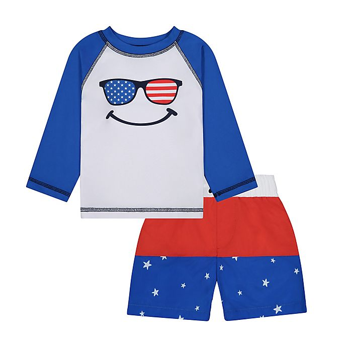 Alternate image 1 for Beetle & Thread® Size 6M 2-Piece Americana Rashguard and Swim Trunk Set in Blue/Red