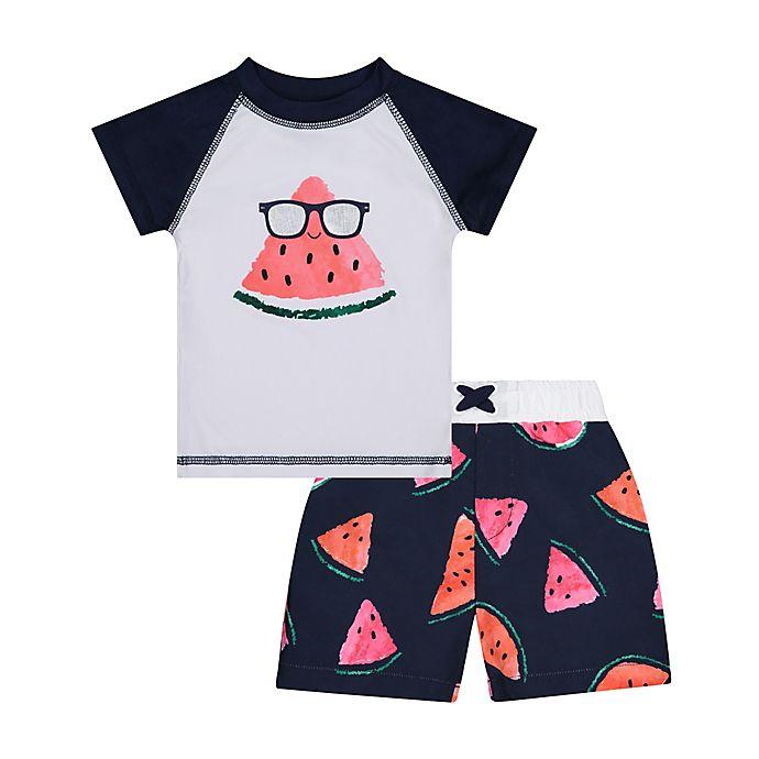 Alternate image 1 for Beetle & Thread® 2-Piece Watermelon Rashguard and Swim Trunk Set in Navy