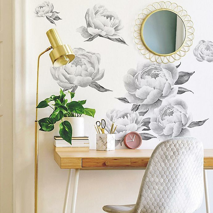 Alternate image 1 for RoomMates® Black Peonies Peel & Stick Giant Wall Decals