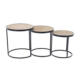 Ridge Road Décor 3-Piece Wood Industrial Nesting Table Set in Beige