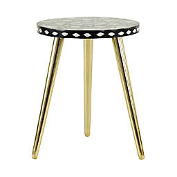 Ridge Road Décor Eclectic Shell Inlay and Aluminum Accent Table in Gold/Black/White