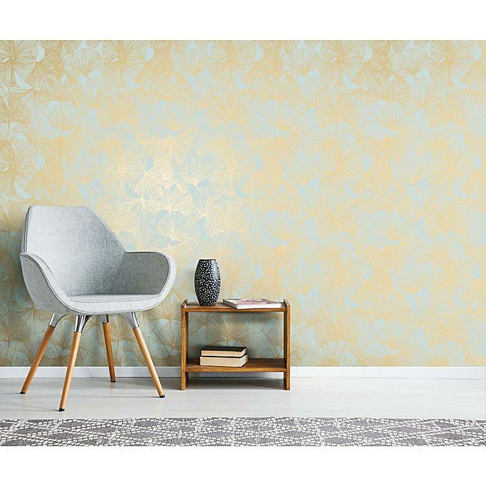 Alternate image 1 for RoomMates® Gingko Leaves Peel & Stick Wallpaper in Gold/Green