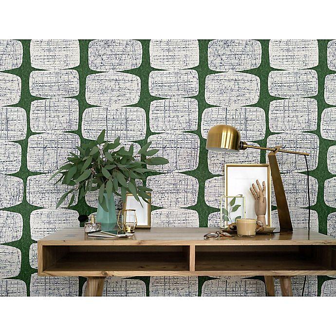 Alternate image 1 for RoomMates® Mid-Century Beads Peel & Stick Wallpaper in Green/White