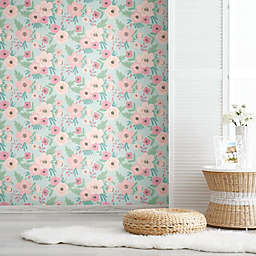 RoomMates® Poppy Floral Peel & Stick Wallpaper in Green/Pink