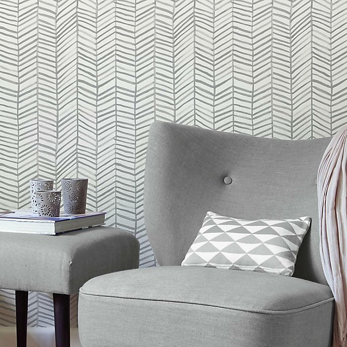 Alternate image 1 for RoomMates® Cat Coquillette Herringbone Peel & Stick Wallpaper in Grey/White
