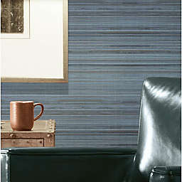RoomMates® Faux Grasscloth Peel & Stick Wallpaper in Blue/Grey