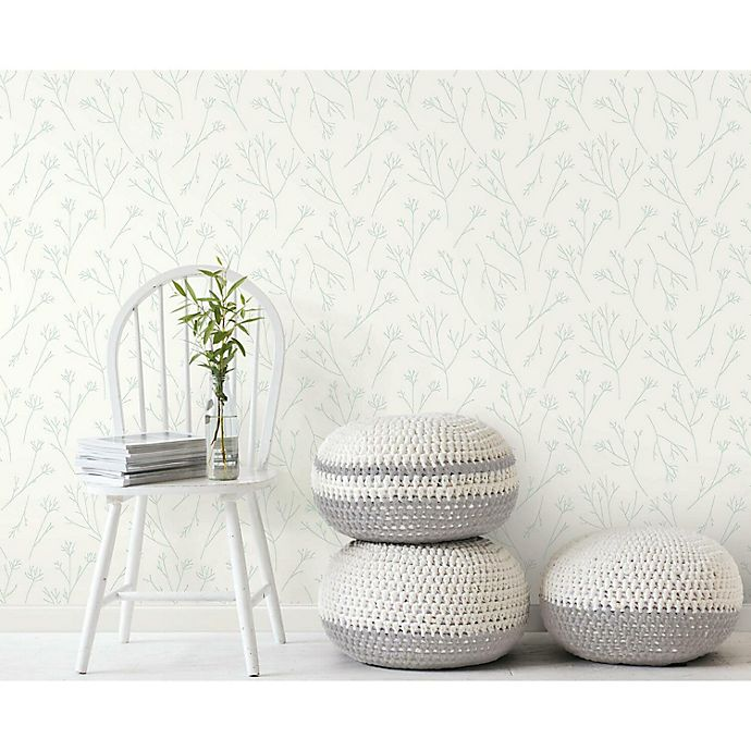 Alternate image 1 for RoomMates® Twigs Peel & Stick Wallpaper in Green/White