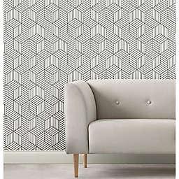 RoomMates® Striped Hexagon Peel & Stick Wallpaper in Green/White