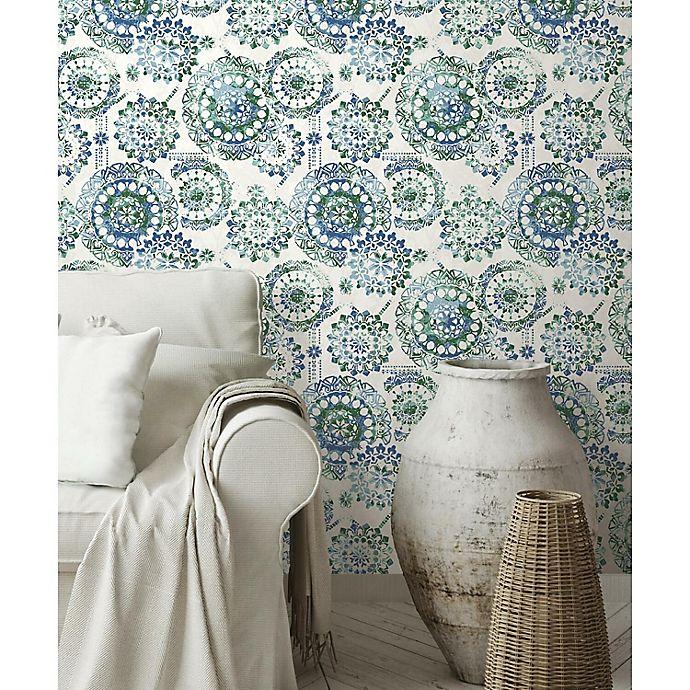 Alternate image 1 for RoomMates® Bohemian Medallion Peel & Stick Wallpaper in Blue/Green