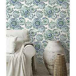 RoomMates® Bohemian Medallion Peel & Stick Wallpaper in Blue/Green