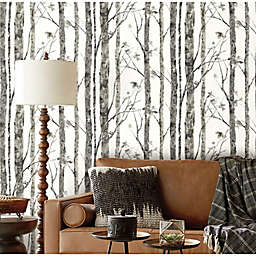 RoomMates® Trees Peel & Stick Wallpaper in White/Grey
