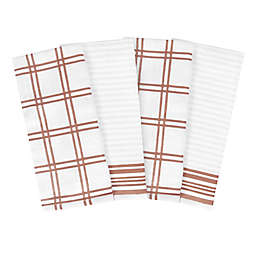 Our Table™ Everyday Plaid and Stripe Kitchen Towels in Rust (Set of 4)