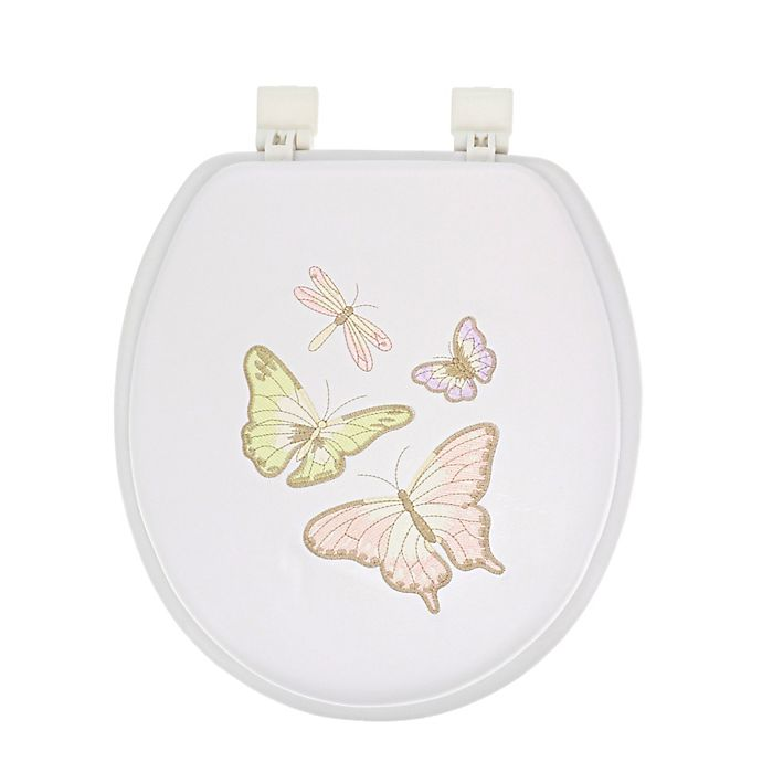 Alternate image 1 for Ginsey Round Soft Embroidered Toilet Seat in White