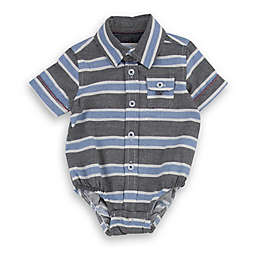 Sovereign Code® Striped Polo Short Sleeve Bodysuit in Blue/Grey