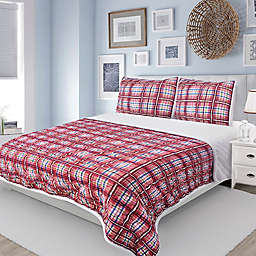 Lake Tahoe Plaid Sherpa-Back Quilt Set in Red
